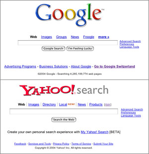 google or yahoo which is a Google's search bar is built in to my browser window and i have a google search widget, should i choose to i've had a yahoo email account for years now i also have a gmail account the two are not plus, they have flickr, which is now attached to my yahoo account bottom line, i'll continue to.